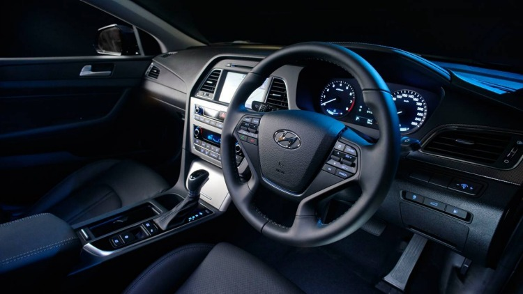 The Sonata's cabin includes twin infotainment and driver display screens.