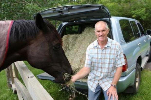 Horsepower: TV presenter Simon Reeve with his Toyota LandCruiser.