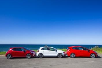 L-R: Peugeot 208 GTi, Volkswagen Polo GTI, Ford Fiesta ST.