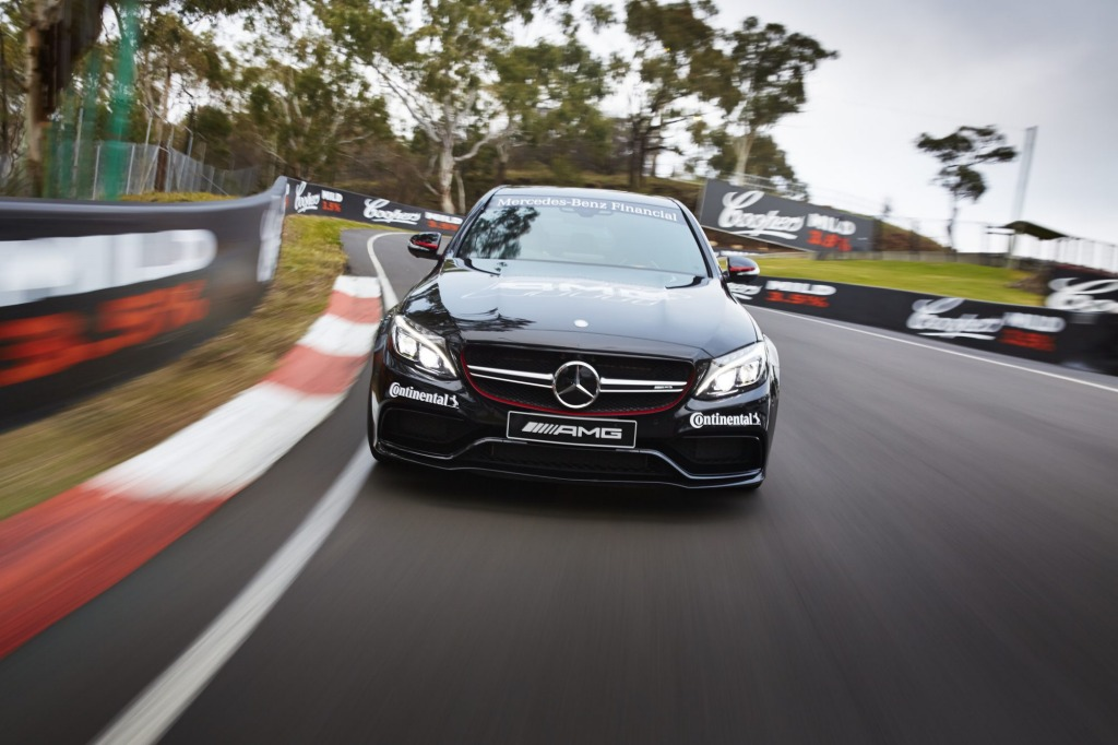 The Mercedes-AMG C63 S taking on Mount Panorama.