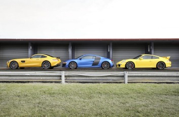 L-R: Mercedes-AMG GT S v Audi R8 LMX v Porsche 911 GT3.