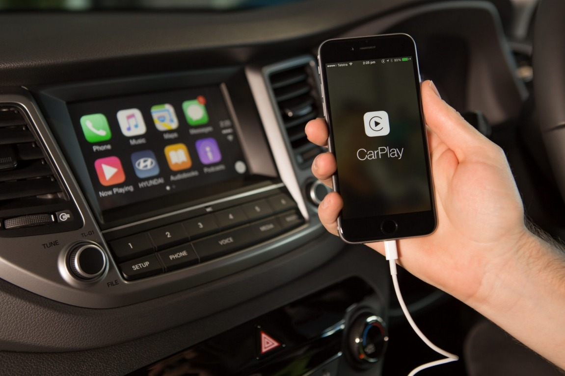 Hyundai's new Tucson is fitted with Apple's new CarPlay infotainment system.