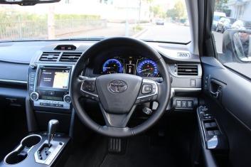Inside the Toyota Camry Atara SL Hybrid.