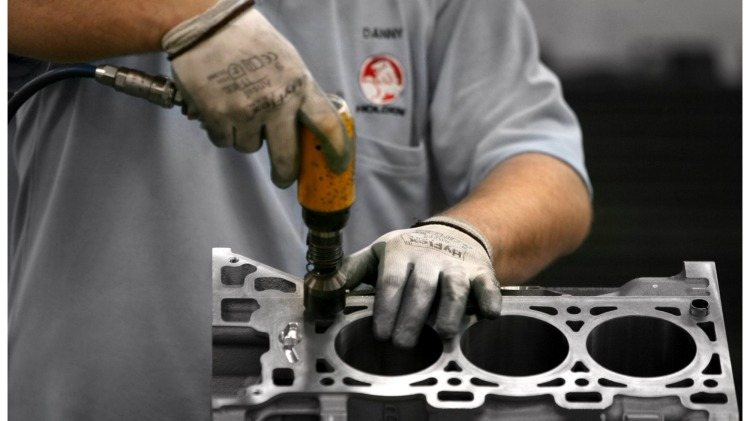 Working on a cylinder block at the Holden Engine factory Wednesday 2 May 2007. SPECIAL ENGINE  generic Holden factory