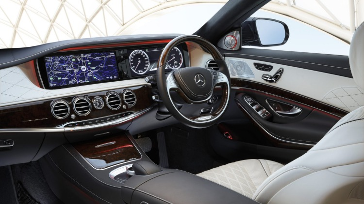 Mercedes-Benz S500 interior blends old-school design and luxury with modern technology.