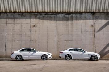 L-R: Mercedes-Benz C200 v Jaguar XE.