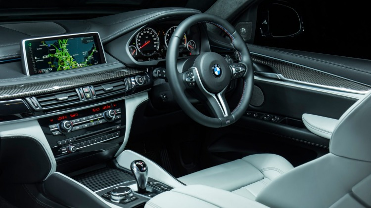 The cabin of the BMW X6 M is a step up from the rest of the range.