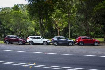 L-R: Toyota RAV4, Honda CR-V, Hyundai Tucson, Kia Sportage.