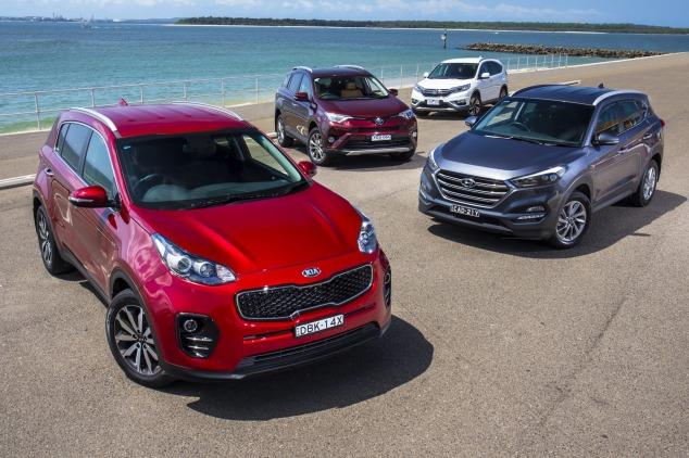 Mid-size SUV comparison: Kia Sportage v Hyundai Tucson v Toyota RAV4 v Honda CR-V.