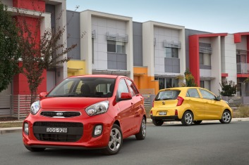 2016 Kia Picanto group shot. The 2016 Kia Picanto is the most affordable model in Kia's Australian line up.