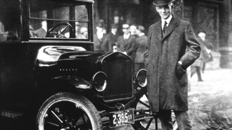 Henry Ford with a Model Tin 1921, a year when a million cars churned off his production line. But two academics say it was only all-steel car bodies, patented by Edward Budd and Andre Citroen, that enabled fast mass-production.