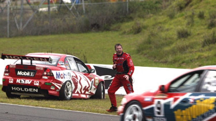 Mark Skaife rages at Russell Ingall (driving) after a dust-up at Eastern Creek, Sydney, in 2003.