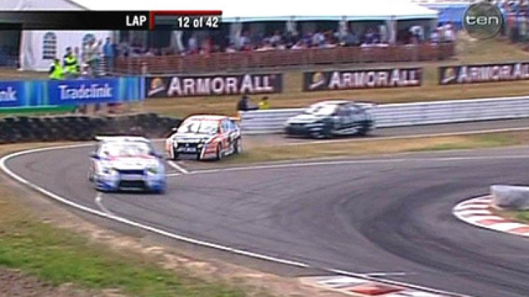 Still on track: Championship leader Rick Kelly picked up crucial points last weekend despite cutting a corner when exiting the pit lane, below. Picture: Getty Images, Channel Ten.