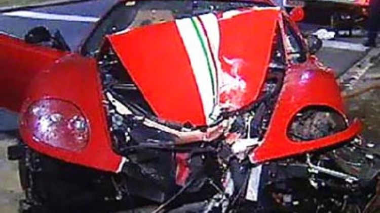 Crash ... the wrecked car. Photo: Channel Nine