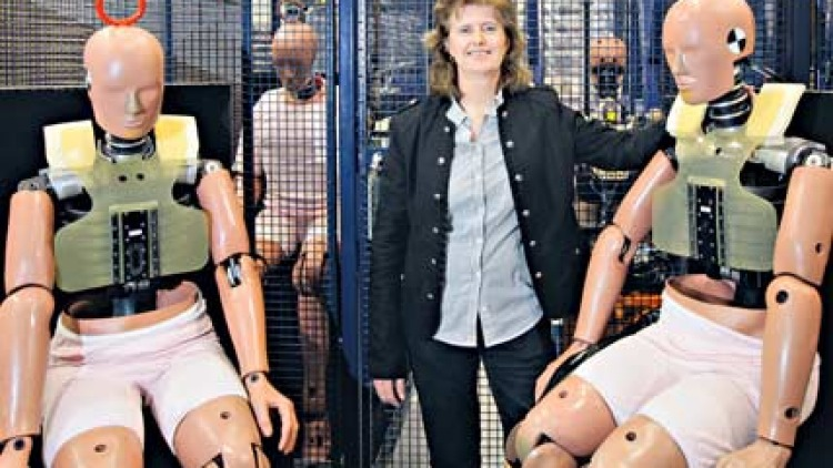 Sonja Vangaale and some of the crash test dummies.