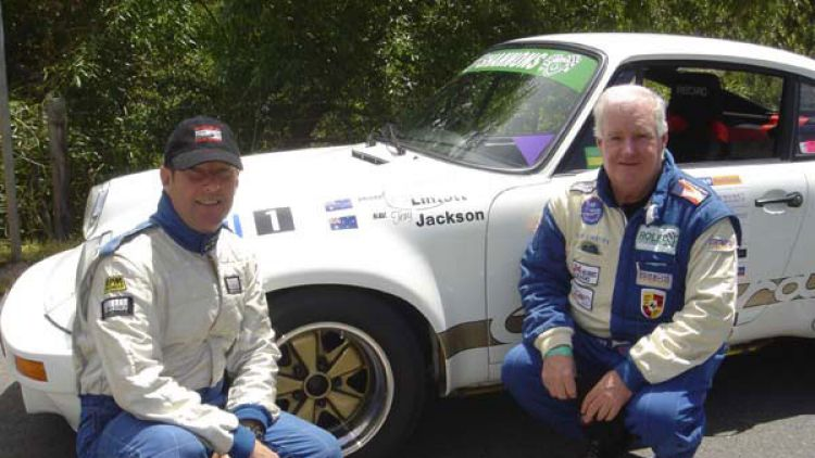 No factory backing ... Lintott, right, with his navigator Tony Jackson at the Adelaide Classic Rally in 2004.