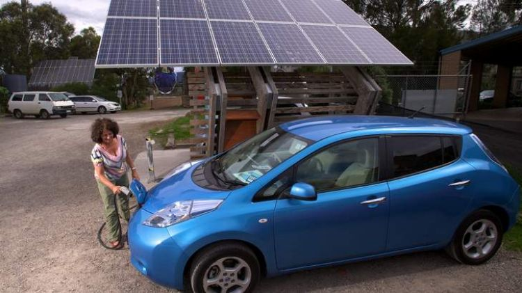 A car being charged at a solar station in Melbourne.