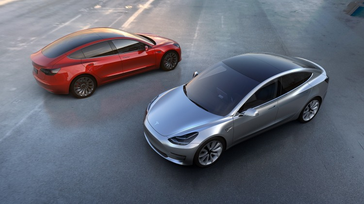 The first pictures of the Tesla Model 3 were released on April 1.