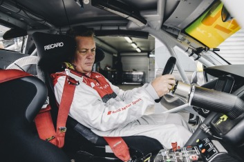 Snug fit: The interior of the Audi R8 LMS has only what's necessary to go fast, and save weight.