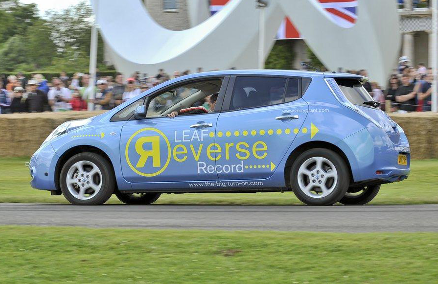 Nissan Leaf Sets Goodwood Hill Climb Record, In Reverse: Video