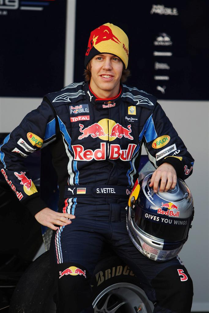 JEREZ DE LA FRONTERA, SPAIN - FEBRUARY 10:  Red Bull Racing driver Sebastian Vettel of Germany attends the unveiling of the new RB6 during winter testing at the at the Circuito De Jerez on February 10, 2010 in Jerez de la Frontera, Spain.  (Photo by Mark