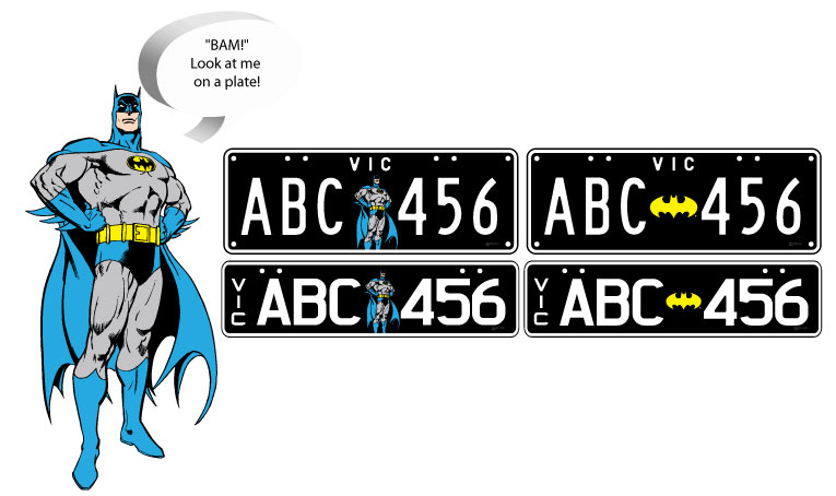 VicRoads - Superhero And Looney Tunes Plates