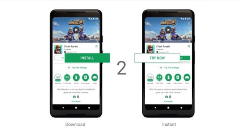 Contoh tampilan menu di Game yang suport Google Play Instant
