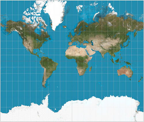 현재 많이 사용하는 메르카토 지도