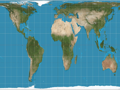 실제면적을 반영한 지도