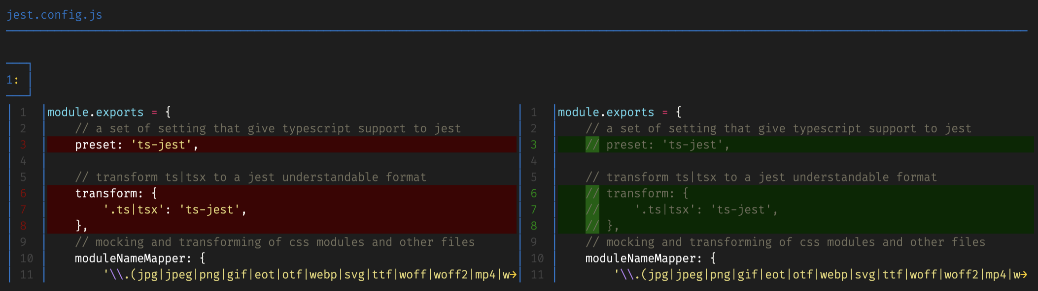 showing the git diff of the jest.config.js