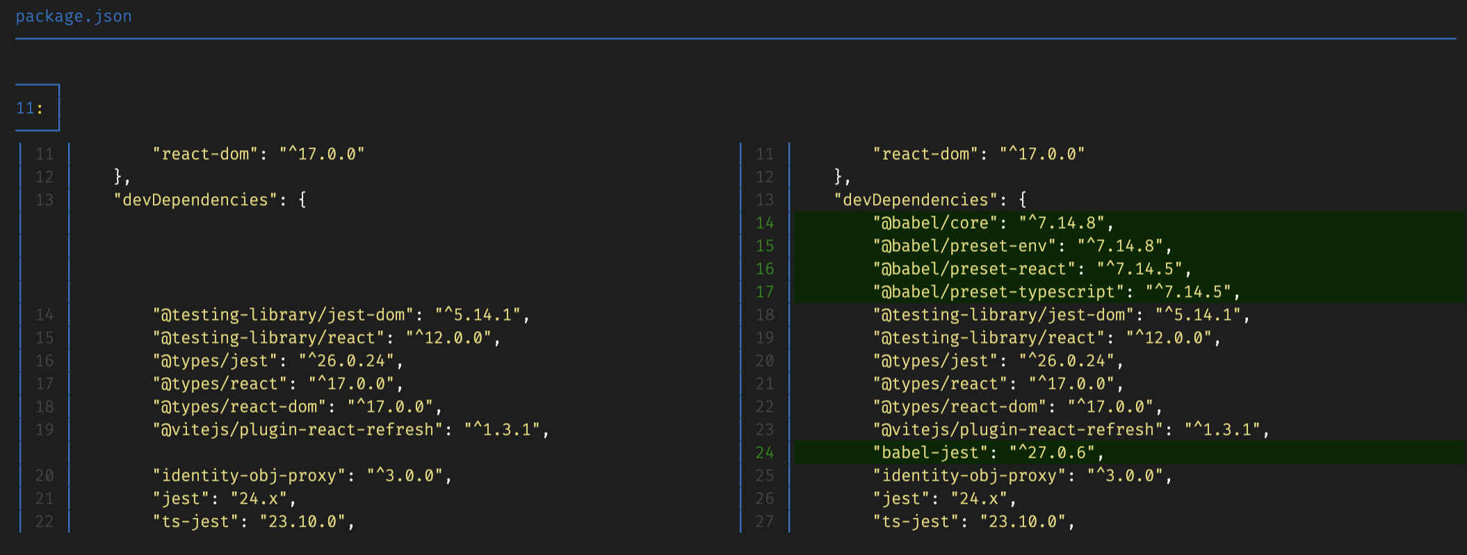 showing the git diff of the package.json