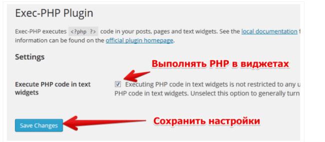 опции плагина Exec-PHP