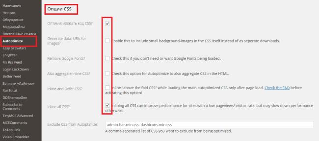 опции CSS в Autoptimize