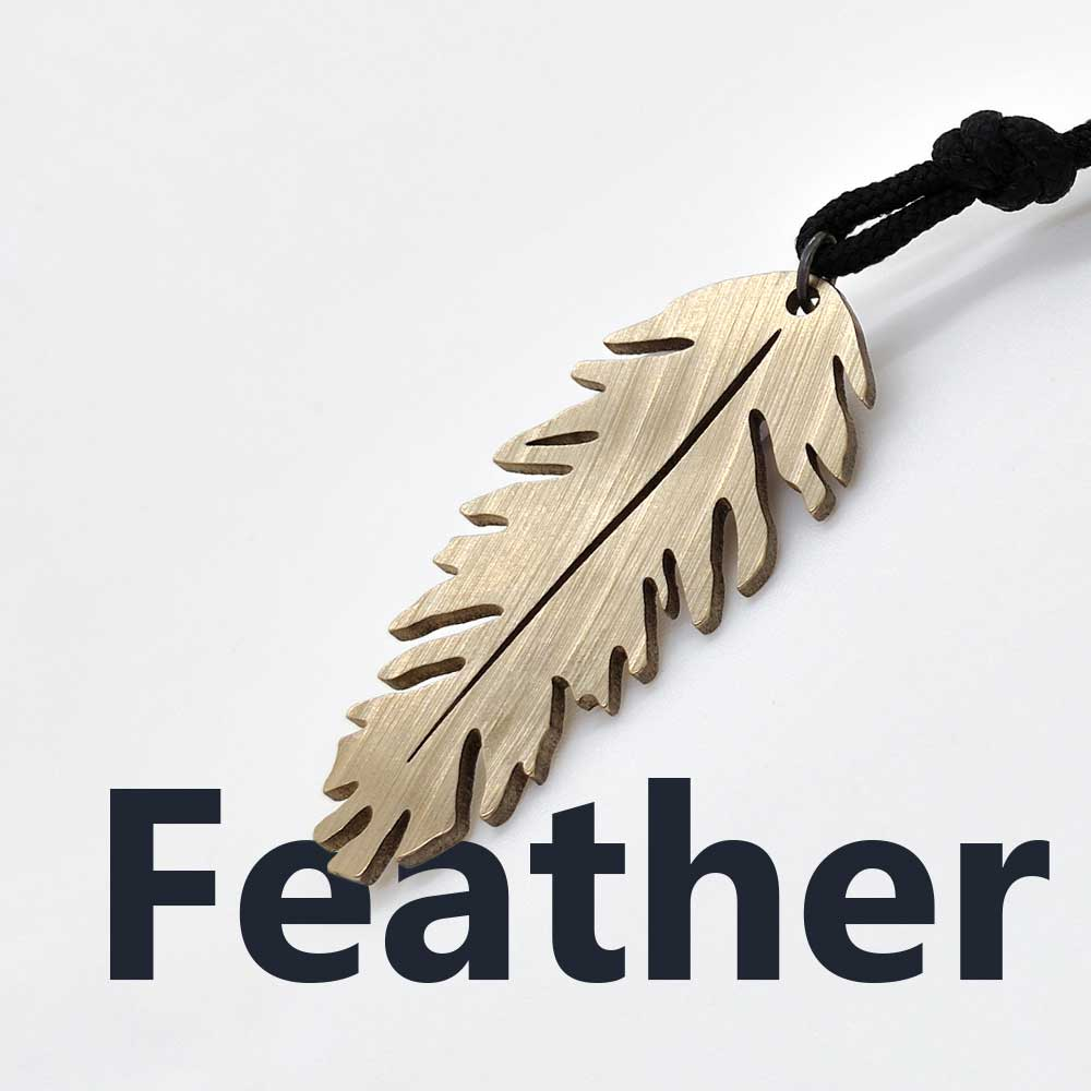 Feather Necklace made of a drum cymbal
