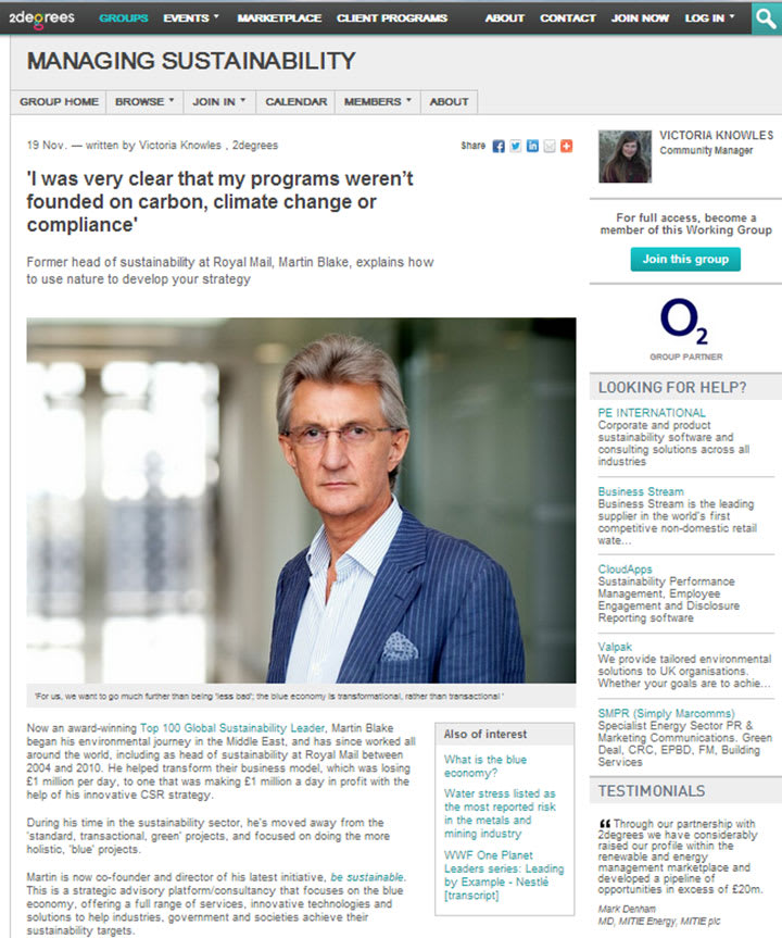 Eco-Business Features Dr Martin Blake