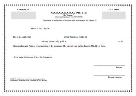 share-certificate A Beginner's Guide: How to Form a Singapore Private Limited Company