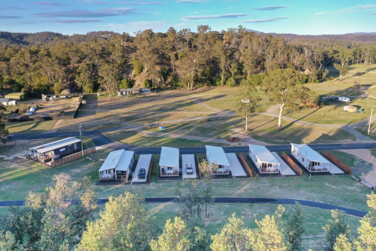 Aerial view of Boydtown Beach Holiday Park cabins