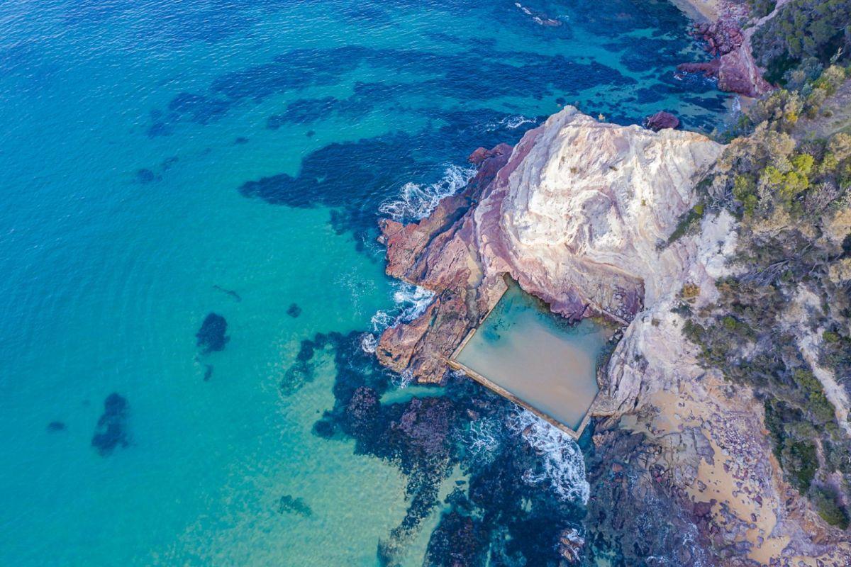 Aerial view of beach pool