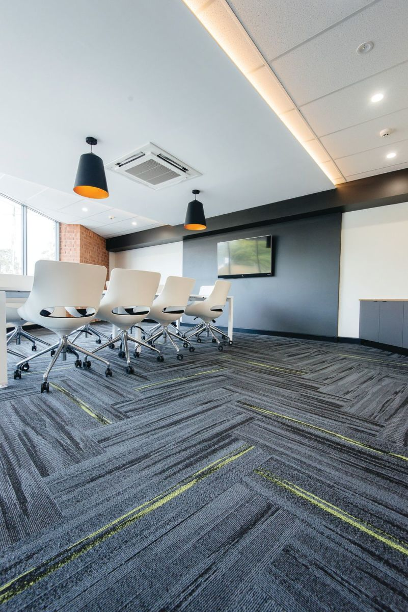 Austral Lights - Charcoal and Yellow in Office Space Hurtsville New South Wales, Meeting room.