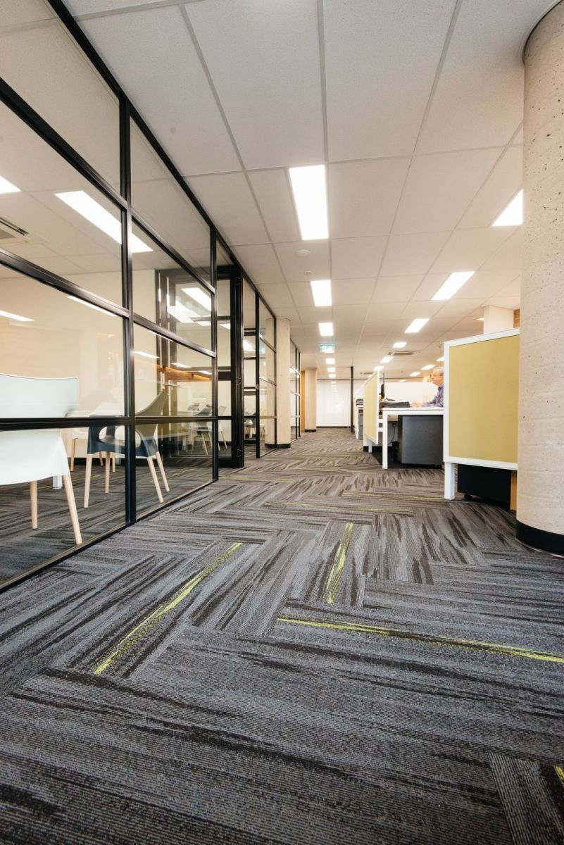 Austral Lights - Charcoal and Yellow in Office Space Hurtsville New South Wales, Walkway view Alternative.