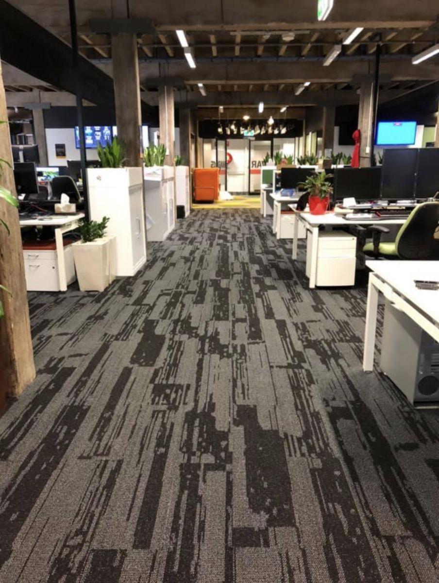 Urban Jet carpet in an office space, Perth Western Australia, reverse Walkway view
