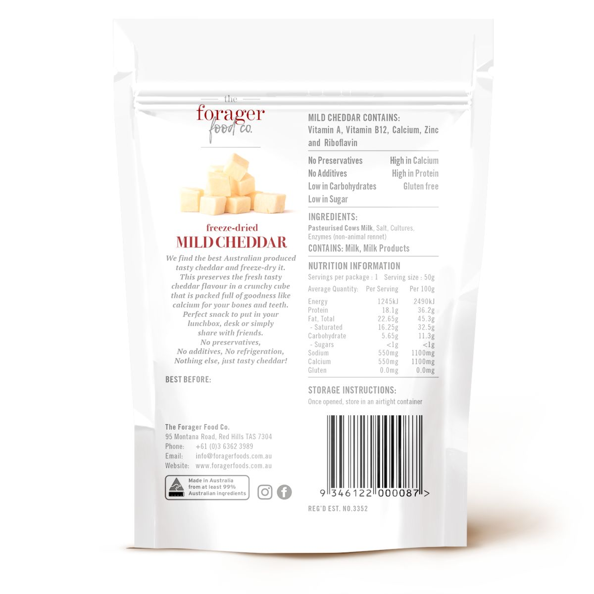 The Forager Food Co. - Freeze-Dried Mild Cheddar Cheese