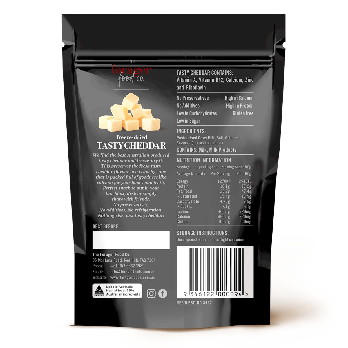 The Forager Food Co. - Freeze-Dried Tasty Cheddar Cheese