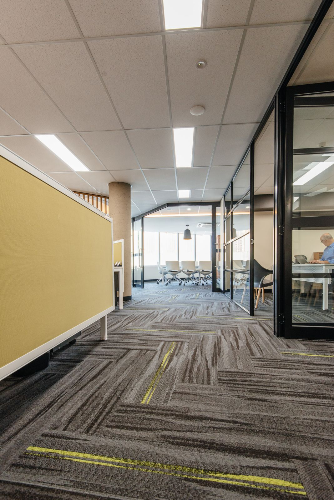 Austral Lights - Charcoal and Yellow in Office Space Hurtsville New South Wales, Walkway View