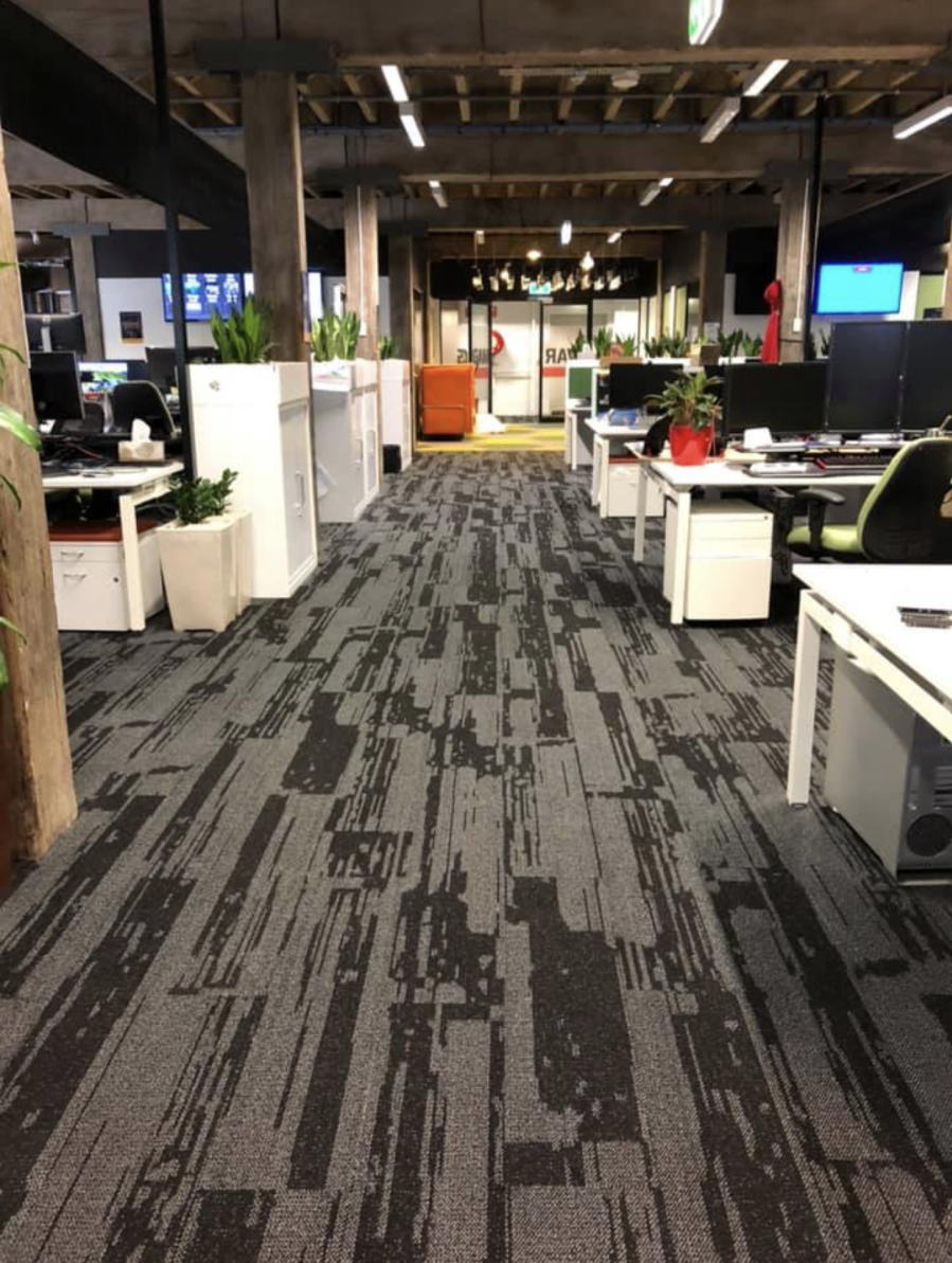 Urban Jet carpet in an office space, Perth Western Australia, reverse Walkway view