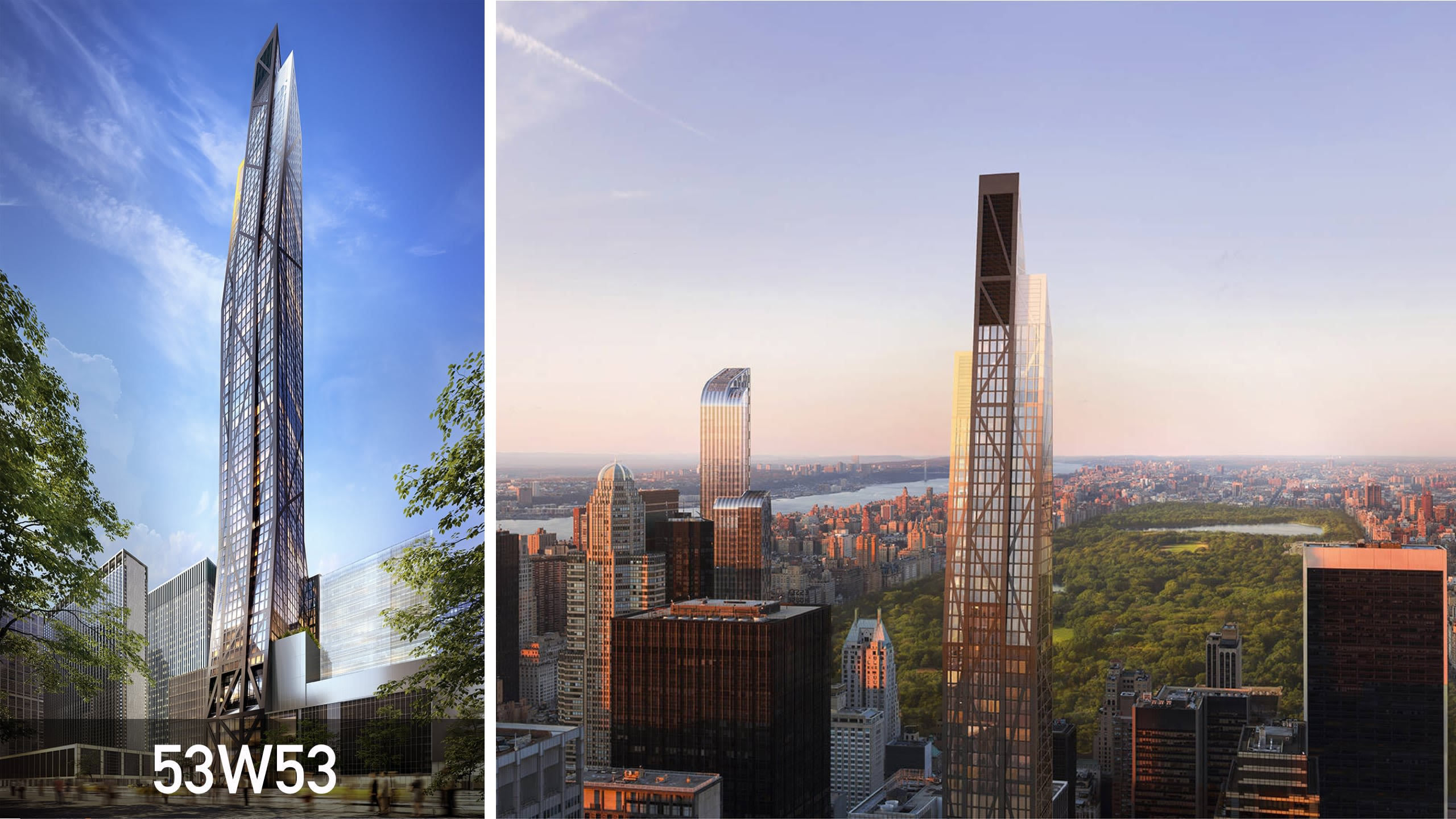 A unique design of the 53 West 53 super-slender tower.