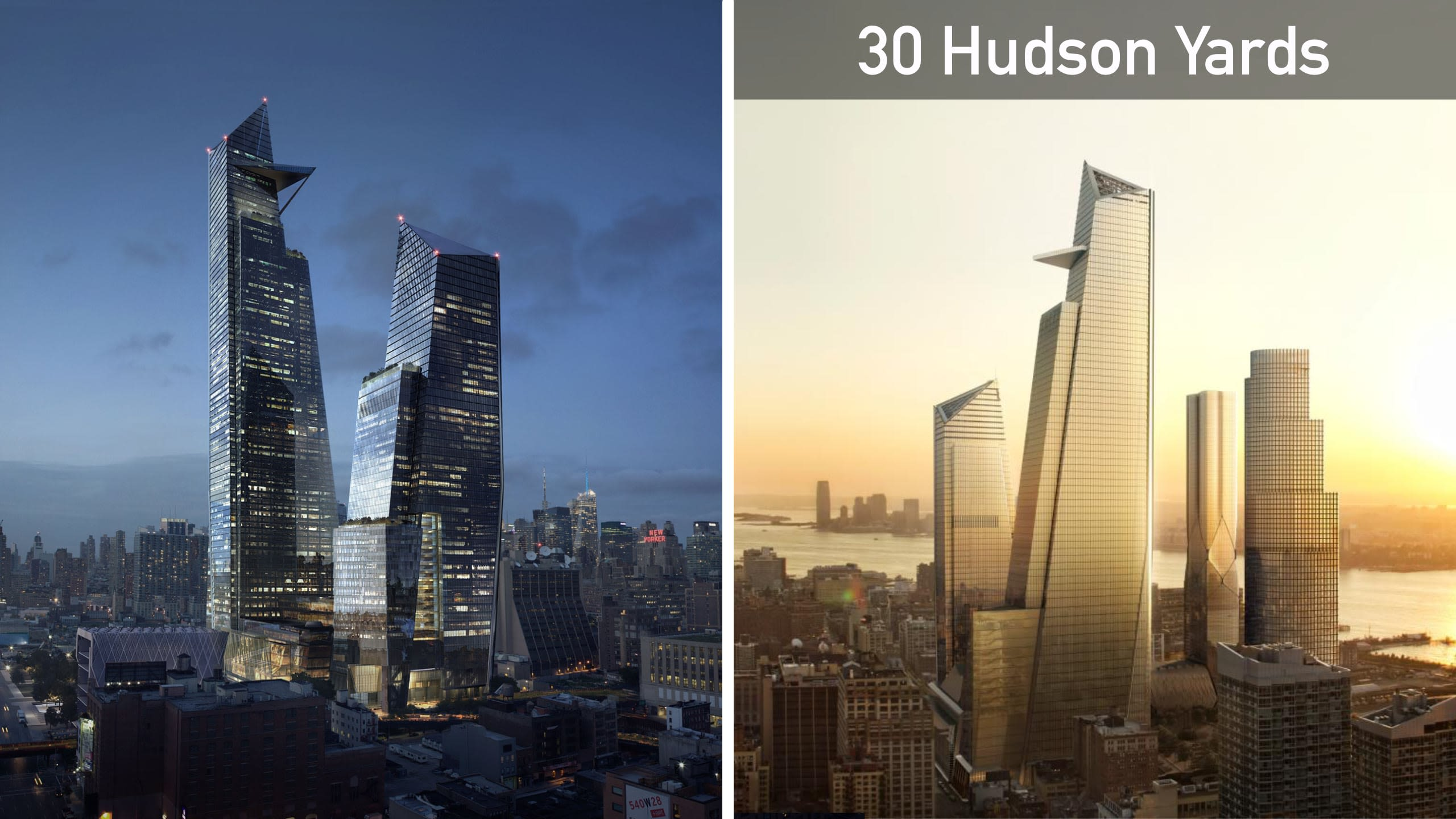 30 Hudson Yards at day and at night