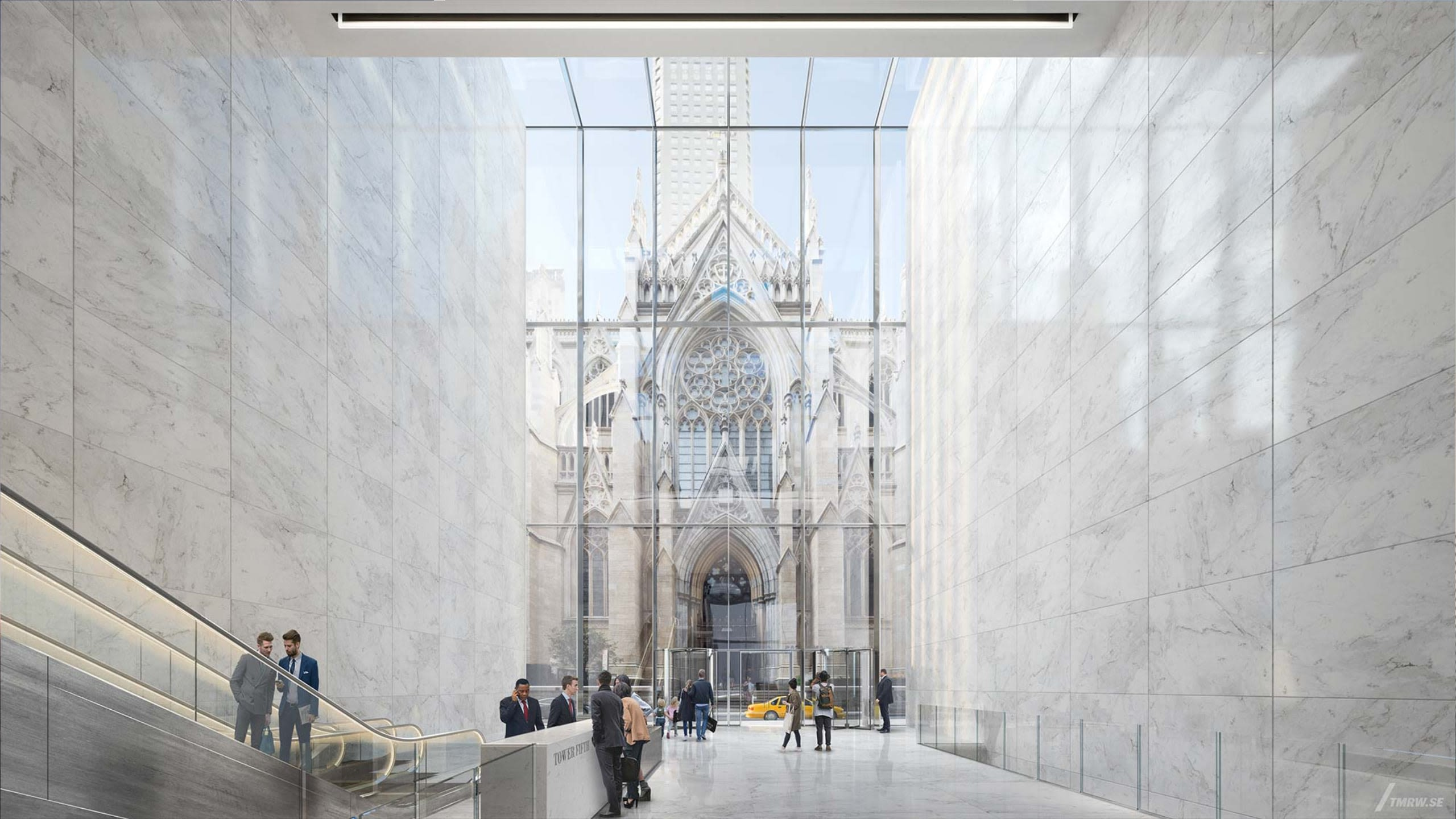 The lobby of Tower Fifth would frame an entrance to St. Patrick's Cathedral.