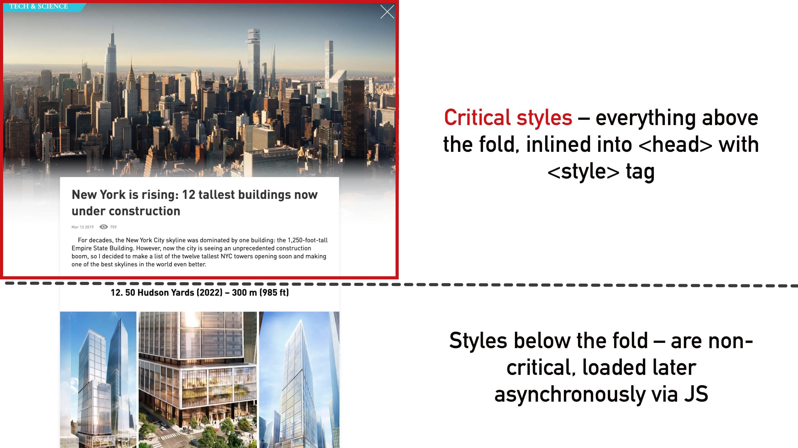 How to define critical styles for a page