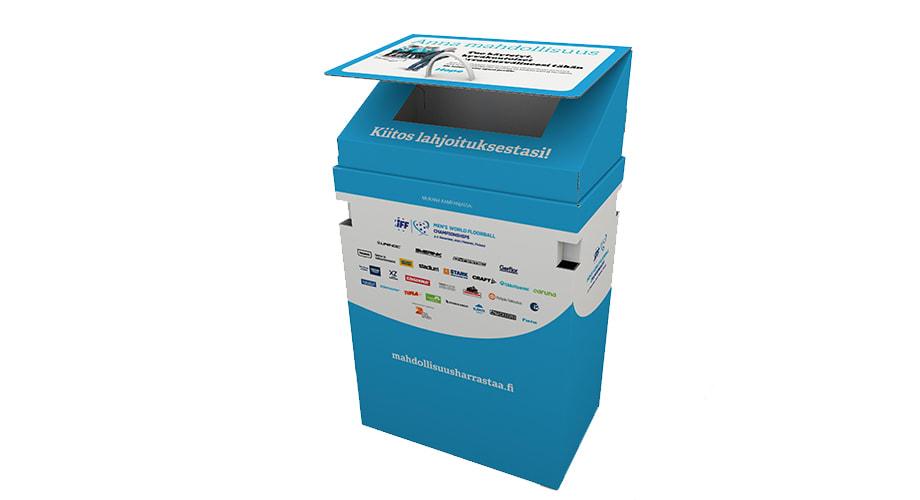 DS Smith tukee tätä keräystä valmistamalla ja lahjoittamalla useita kymmeniä tähän tarpeeseen suunniteltua keräyslaatikkoa.
